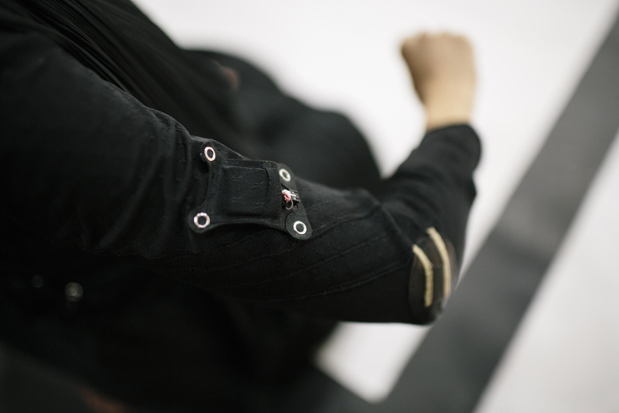 E-textile Costume Details: Arm Muscle Sensor _ photo by Corey Fuller