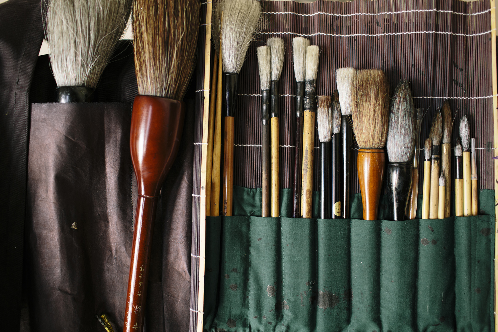 Aoi's calligraphy brushes _ photo by Corey Fuller